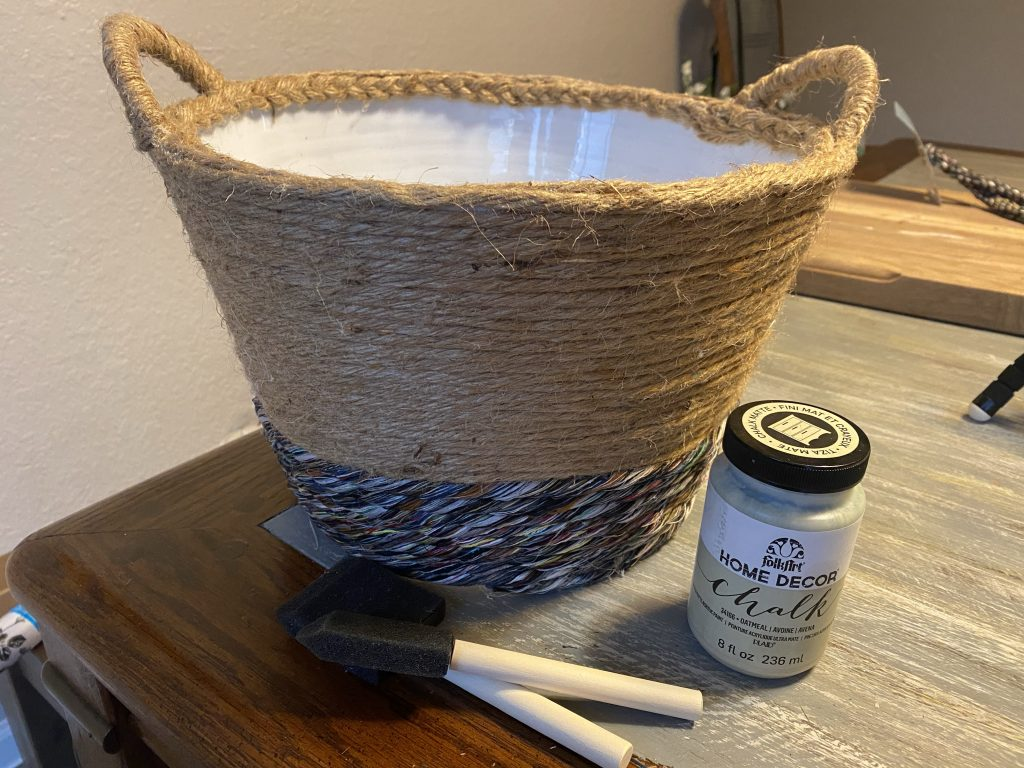 painting inside basket
